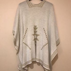Sweaters - Knit Aztec Wrap/Poncho with Side Buttons